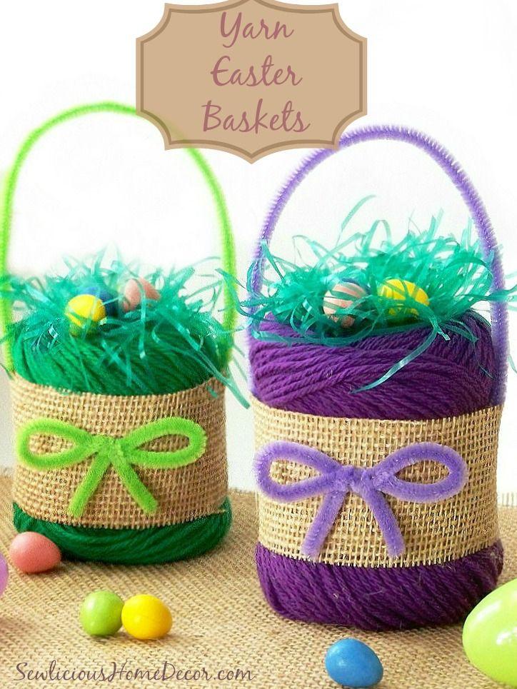 Yarn Easter Baskets | http://sewlicioushomedecor.com
