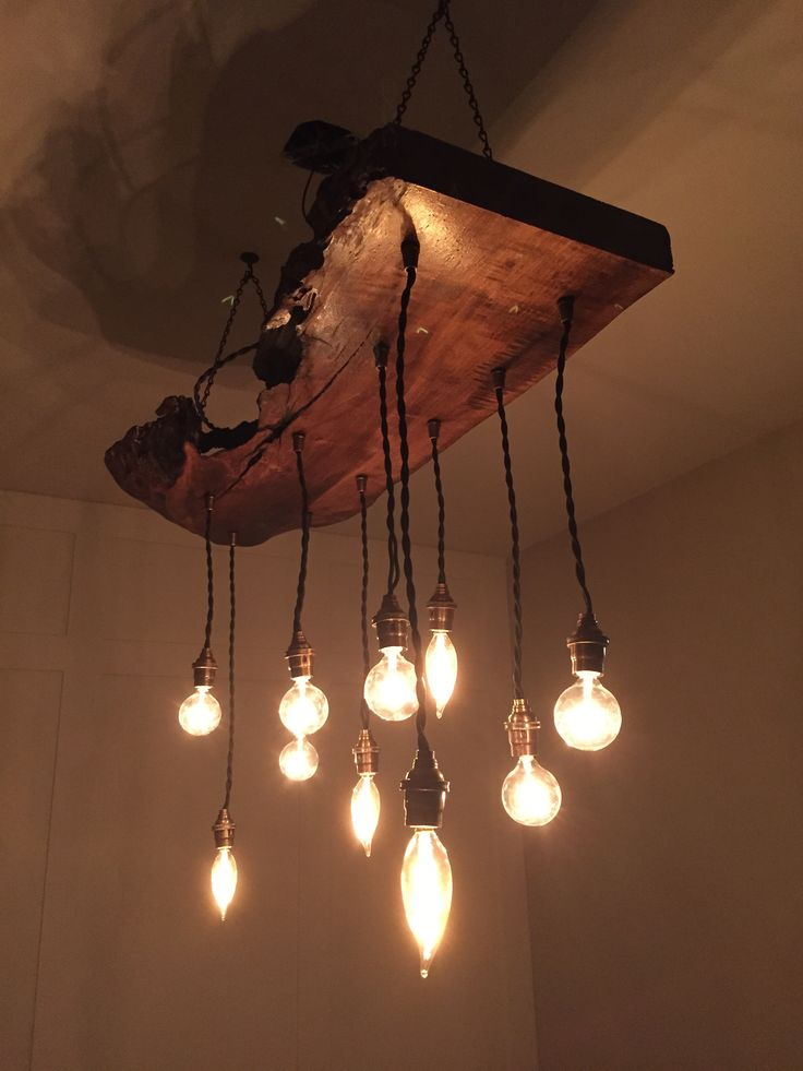 Dining Room Light Fixture. #DIY #Reclaimed #wood #edison #bulbs #hanging