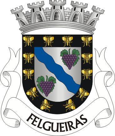 """Civic heraldry of Portugal - Brasões dos municípios Portugueses.Escudo de prata, com uma banda ondada de azul, acompanhada de dois cachos de uvas de púrpura, folhados de verde. Orla de negro, carregada de doze abelhas de ouro. Coroa mural de prata de cinco torres. Listel branco com os dizeres : """" FELGUEIRAS """", de negro.   The arms were officially granted on February 2, 1991."""