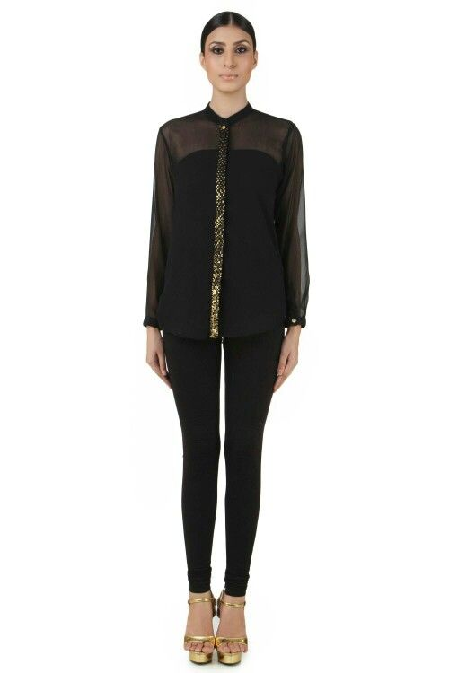 Black top embedded with sequins. Shop women's fashion at www.sumayastore.com