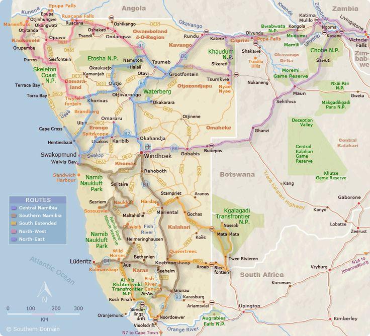 #Namibia Travel Routes Map  NAMIBIA GUIDE TRAVEL.NET  www.namibia-travel.net