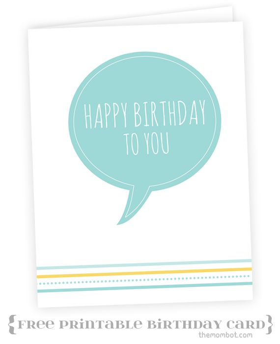 "Free printable ""Happy Birthday"" card 