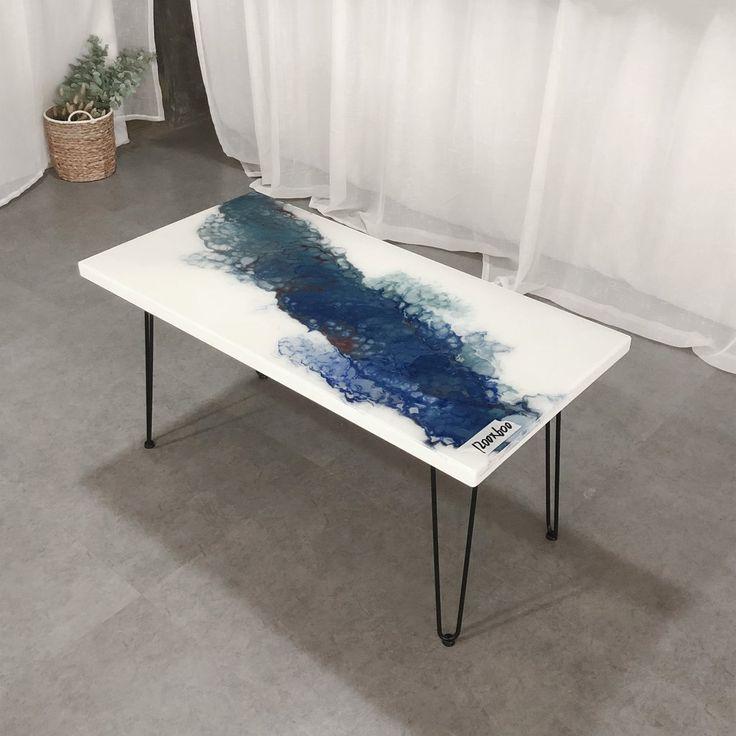 MK-190786 fast shipping DIY Modern White Blue Art Design Resin Table