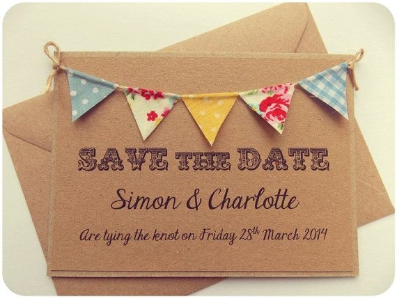 Save The Date Fabric Bunting Wedding Invitation, Vintage Spring Rustic Summer Wedding Kraft Card