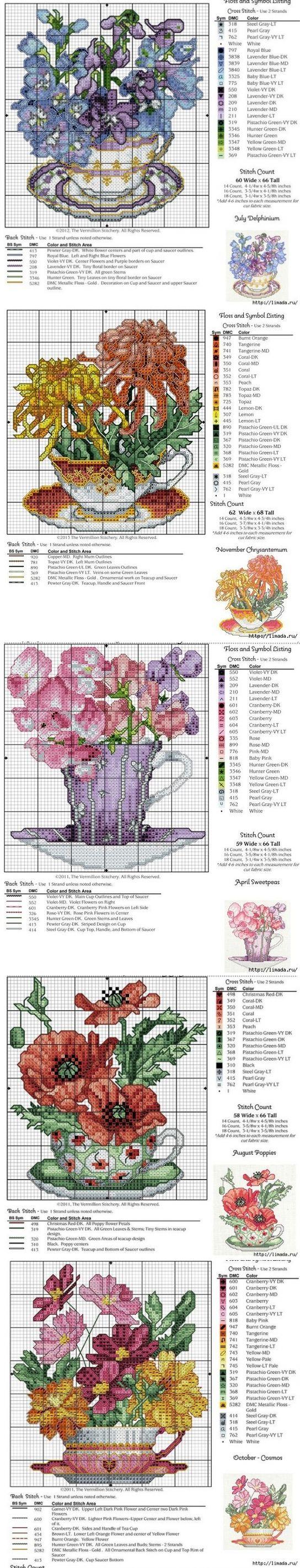 Цветы в чашках - схемы для вышивки крестиком