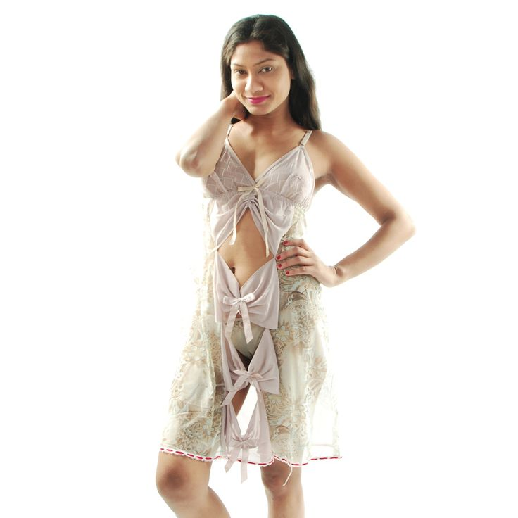 Designer Imported Net Fabric used Babydoll, Beige Color graphic printed, Front Bust open Design, Thong panty with this nightwear for make you men naughty on bed. Bust size 30