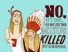 """""""No it's cool. It's not like your ancestors killed them all or anything.""""    [click on image for a video and brief analysis of cultural representation as a practice of domination]"""