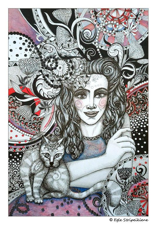 Farewell. Mixed Media Illustration Giclée Print by Egle Stripeikiene / EgleMANDALAdesign