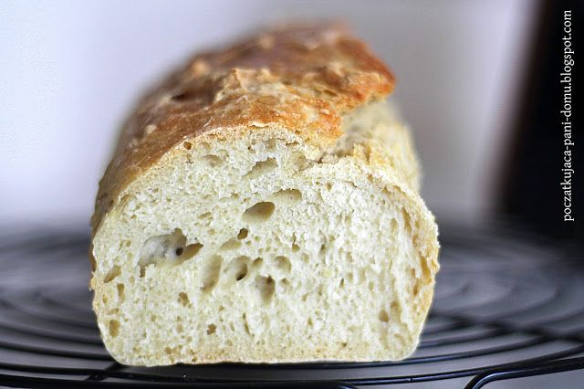 Pszenny chleb bez wyrabiania - krok po kroku.