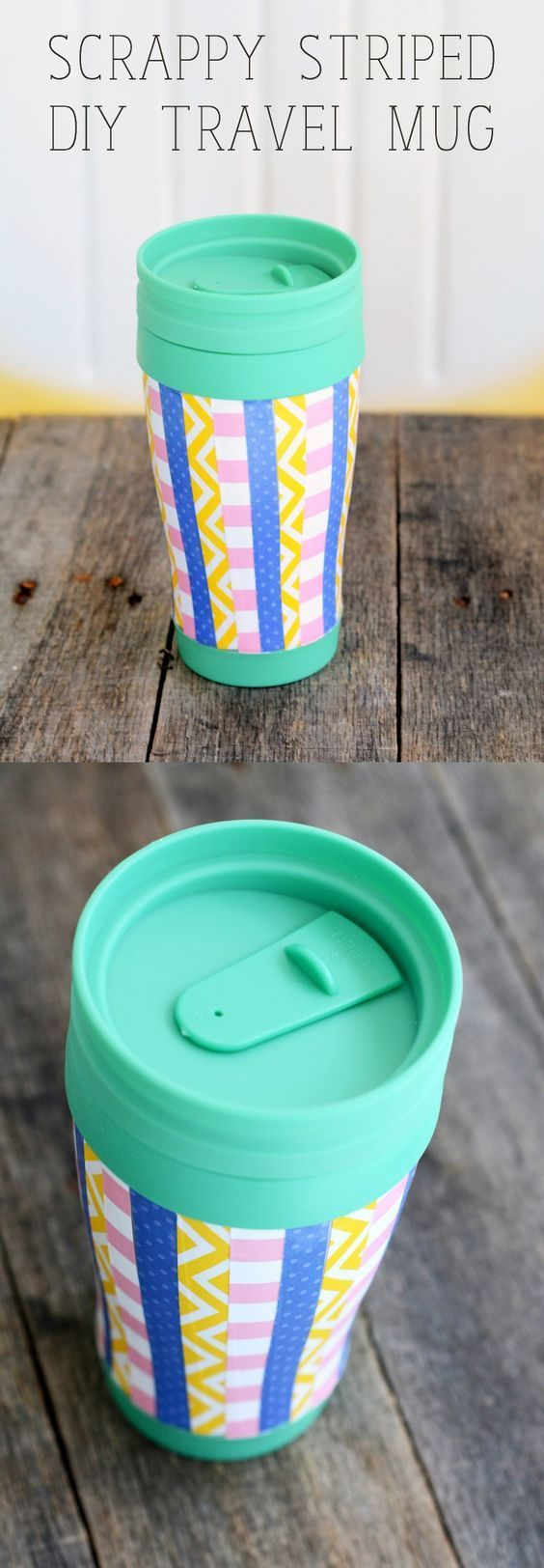 This DIY travel mug was assembled with a dollar store item, paper scraps, and Dishwasher Safe Mod Podge. It's so easy and inexpensive to make!