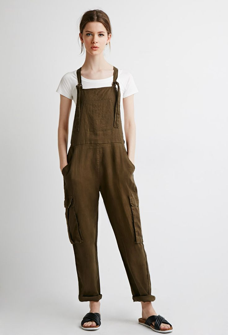 Utility Linen Overalls - Jumpsuits & Playsuits - 2000077483 - Forever 21 EU