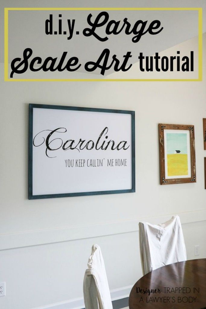 THIS IS GENIUS! Learn to make large scale DIY wall art for around $10.00! Full tutorial from Designer Trapped in a Lawyer's Body.