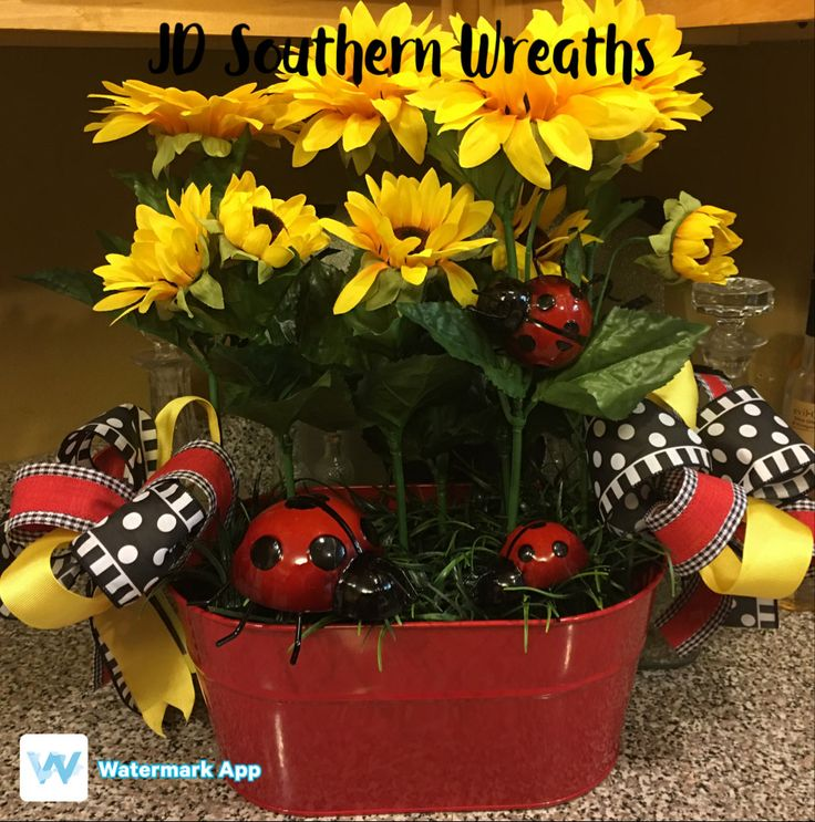 Sunflower Centerpiece, Spring Centerpiece, Summer Centerpiece, Ladybug Centerpiece, Everyday Centerpiece by JDSouthernWreaths on Etsy