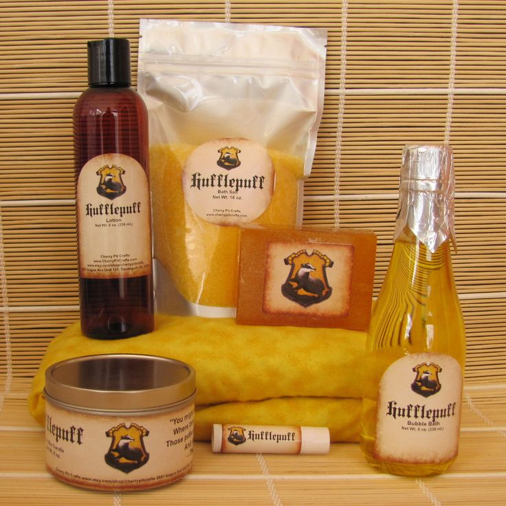 Hufflepuff Harry Potter Themed Deluxe Spa Gift Set - Cherry Pit Pack Heating , Bath Salt, Soy Candle, Soap, Bubble Bath,Lotion and Lip Balm by CherryPitCrafts on Etsy