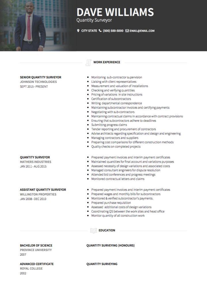 Cv Template Quantity Surveyor Cvtemplate Quantity Surveyor Template Downloadable Resume Template Resume Examples Cv Template
