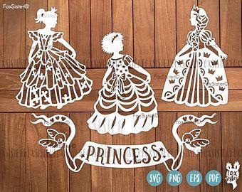 3 Little Princess SVG Papercut Templates | Princess silhouette svg cut file | Birthday svg | kids svg | girls svg Cut Out | for Cricut Cameo