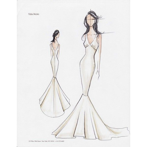 Kim Kardashian's Wedding Gown Sketches ❤ liked on Polyvore featuring sketch, drawings, pictures, art and backgrounds