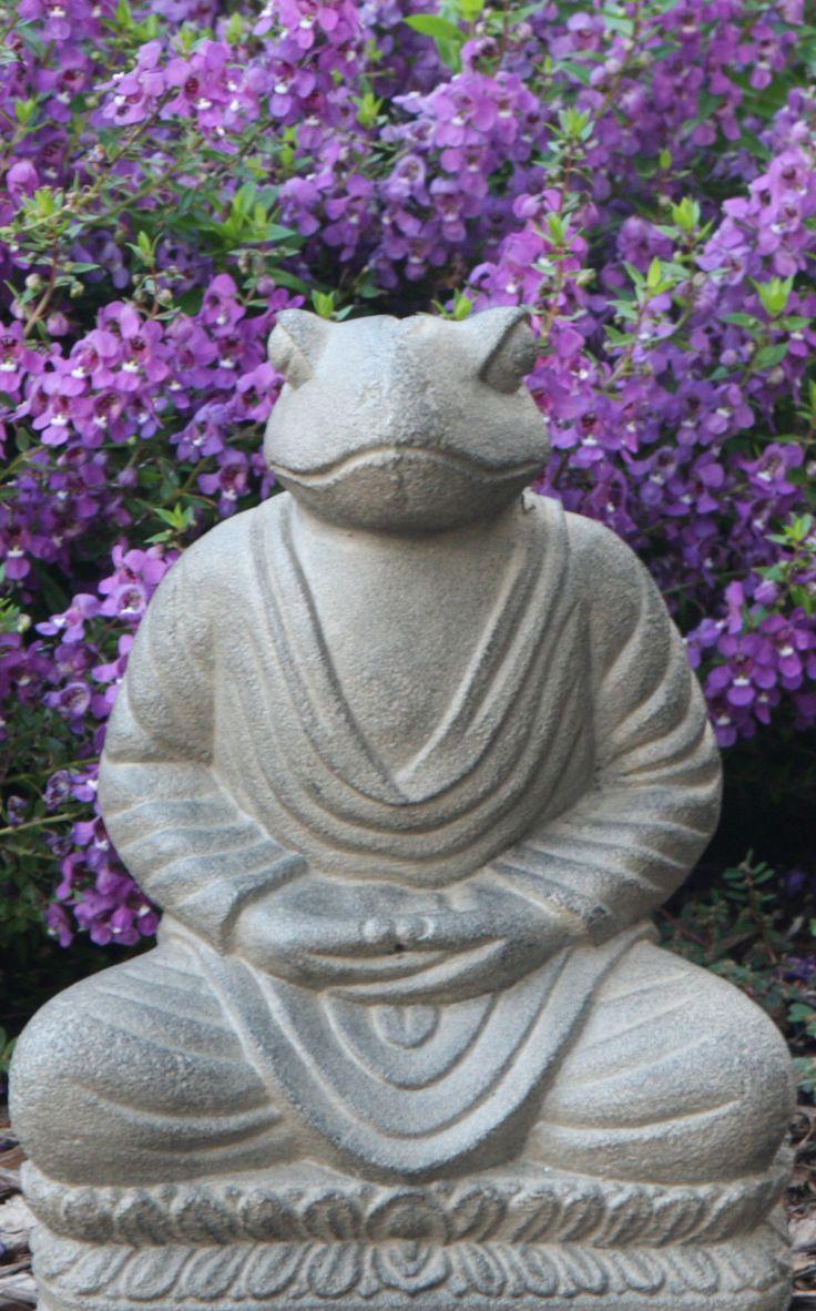 Antique Stone Meditating Frog Statue
