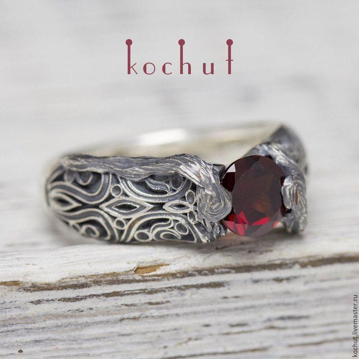 Купить Кольцо винтажное с веточкой. Серебро, гранат - кольцо, винтаж, древесина…