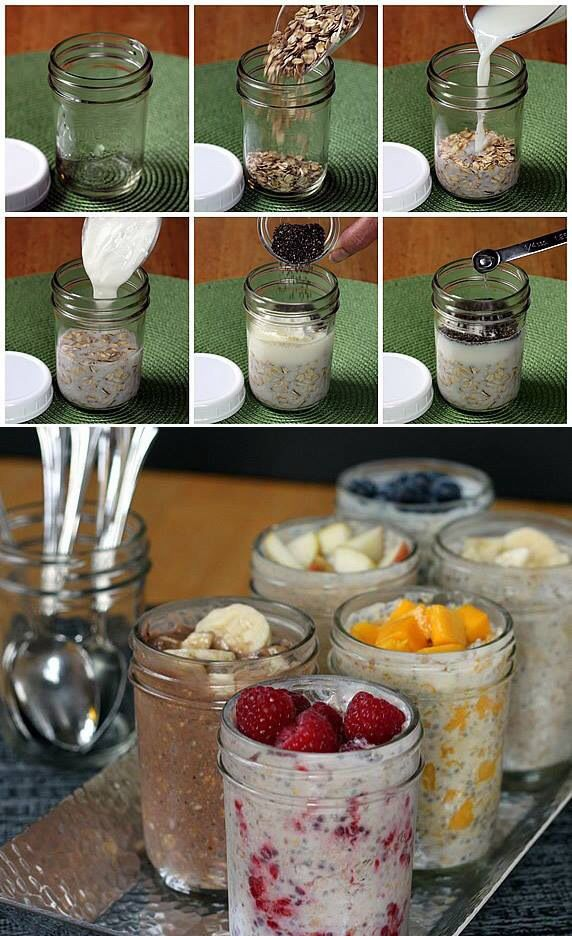 2/3 cup oatmeal, 1/2 cup milk, 1/2 cup yogurt, 1 table spoon chia seeds (optional) 1/2 tea spoon honey (optional)  1/2 cup of fruits. Put in the fridge overnight, yum !!!!!
