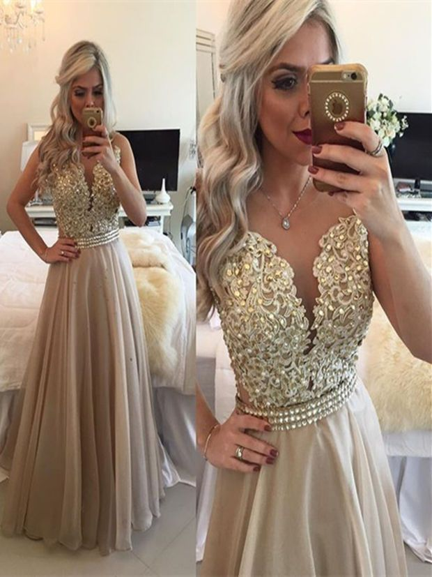 A Line Prom DressesRound Neck Sleeveless Long Champagne
