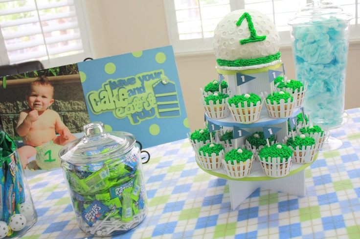 Homemade golf cake and cupcakes.  Bake with round cake pan...frost and let harden, then take a wooden dowel and make the golf dimples.  For the cupcakes just take green icing and make grass and make flags and golfballs made out of taffy.