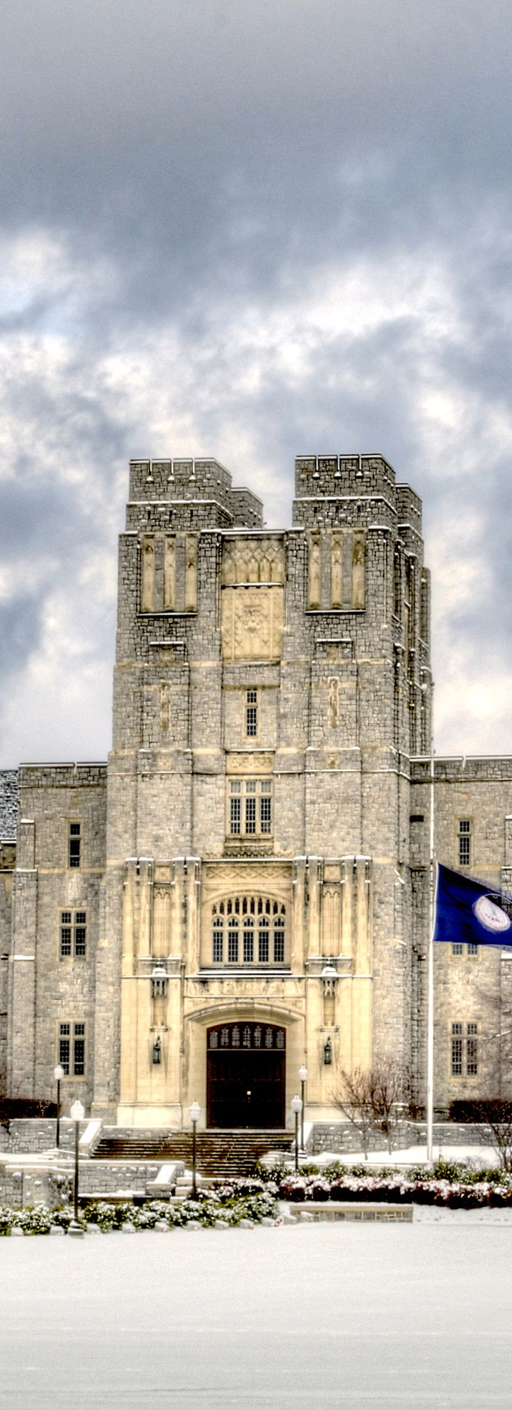 WOW-my school is beautiful Burruss Hall at Virginia Tech in winter, Blacksburg, VA, Photo by Peter Means