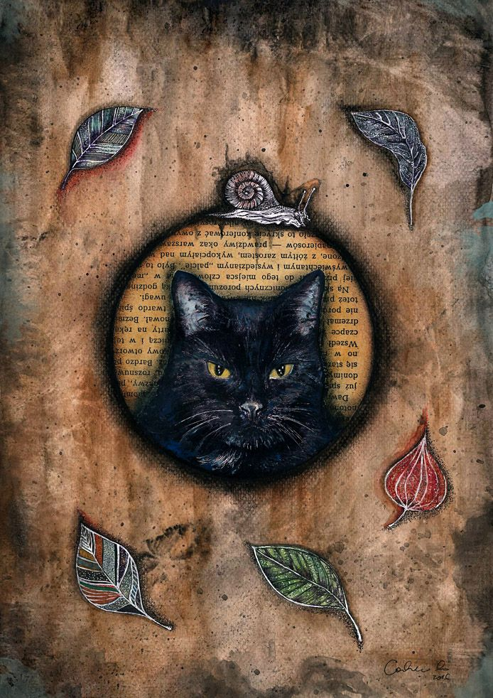"""Autumn Cat"" Black Cat /Halloween/ handmade mixed media collage by CatcolLand"