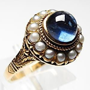 Victorian Blue Sapphire and Seed Pearl Ring.  Vintage Love.