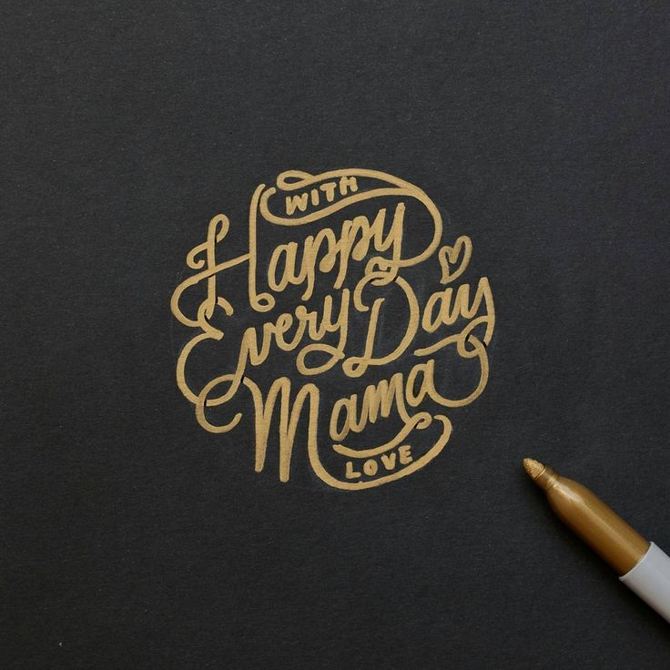 Hand drawn gold lettering by Jen Ma. Gold lettering on black always looks cool.