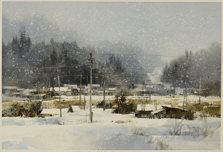 【如歌的雪景】Snow is like a song,Watercolour....By Chien Chung Wei,2014,54*38cm