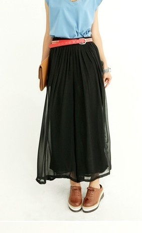 Chiffon wide leg high waistline pants Black