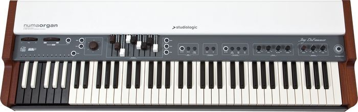 catalog picture of the Numa organ.  This portable uses the KeyB emulation of the famous Hammond B3.  And, for jazz fans, the Numa is also bears the signature of Joey DeFrancesco.
