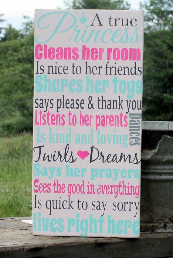 A True Princess, Hand Painted Sign, Little Girls, Pink, Girls Room, Princess, Decor, Vintage, Girls Room Decor on Etsy, $39.99