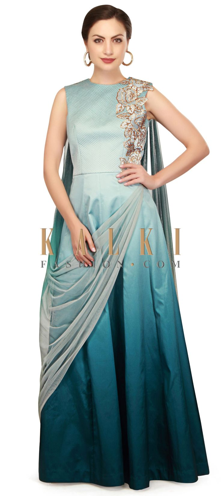 Shaded anarkali suit in sequin patch work only on Kalki
