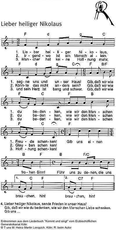 Heiliger Nikolaus von Myra, Sankt Nikolaus, St. Nikolaus/Lieder