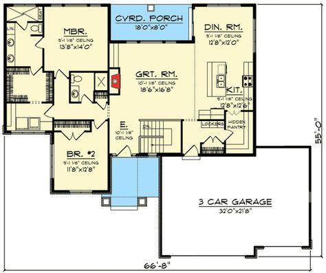 Best 20 rambler house plans ideas on pinterest rambler for Open ranch floor plans with basement