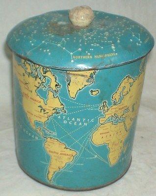 "Original Rare Vintage MB2 ""Britannia Biscuits Tin Box with World map bottom mark"
