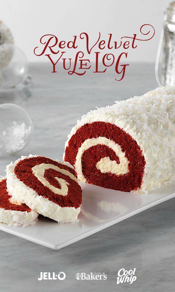 Delightful presentation meets the always-popular red velvet yumminess in this fun cake recipe. Red Velvet Yule Log is a showstopper. Get started with JELL-O® Cheesecake Flavor Instant Pudding, COOL WHIP Whipped Topping, BAKER'S ANGEL FLAKE Coconut, Red Velvet Cake Mix, and cream cheese.