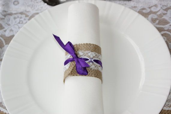 Burlap and lace napkin rings on Etsy, $13.54 CAD