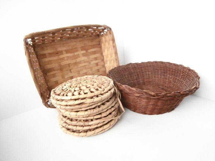 Vintage Rattan - Wicker Baskets - Coasters - Vintage Decor - Vintage Lot