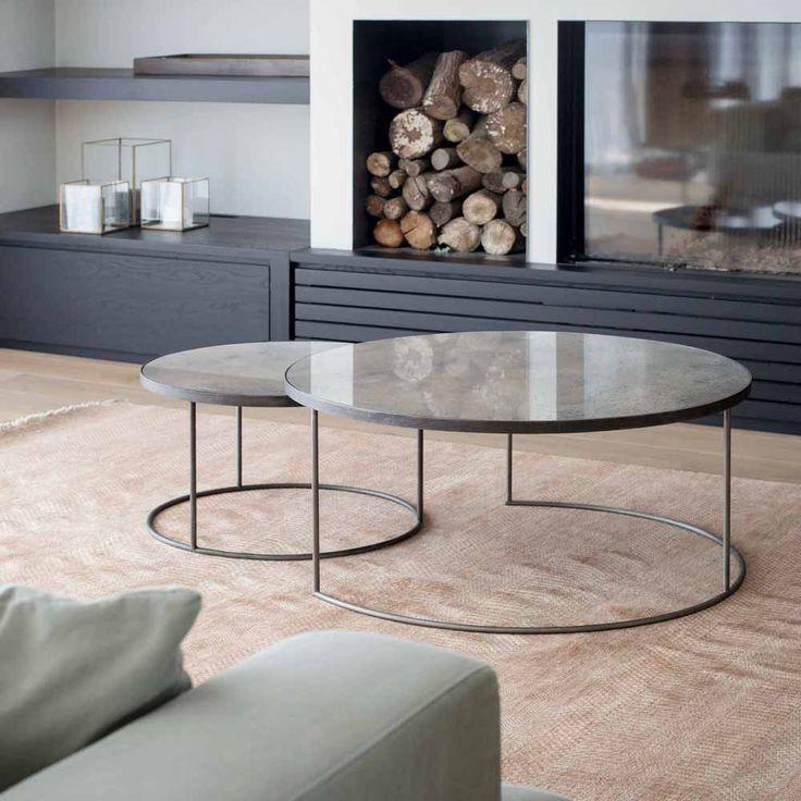 Notre Monde Loungetische Rund Glossy Metall Glas 2er Set Schwarz Grau Nesting Coffee Tables Coffee Table Round Nesting Coffee Tables