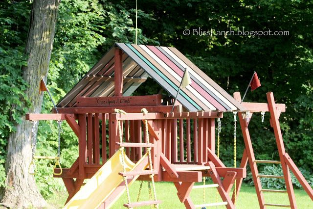 Replace Playground Canopy With A Wood Roof Love This Ps
