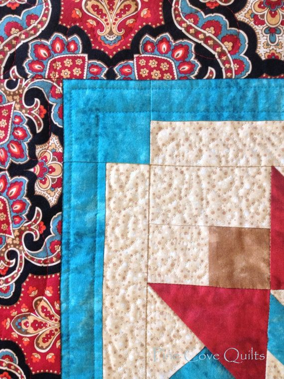 small quilt wall hanging red and teal quilt star by PineCoveQuilts