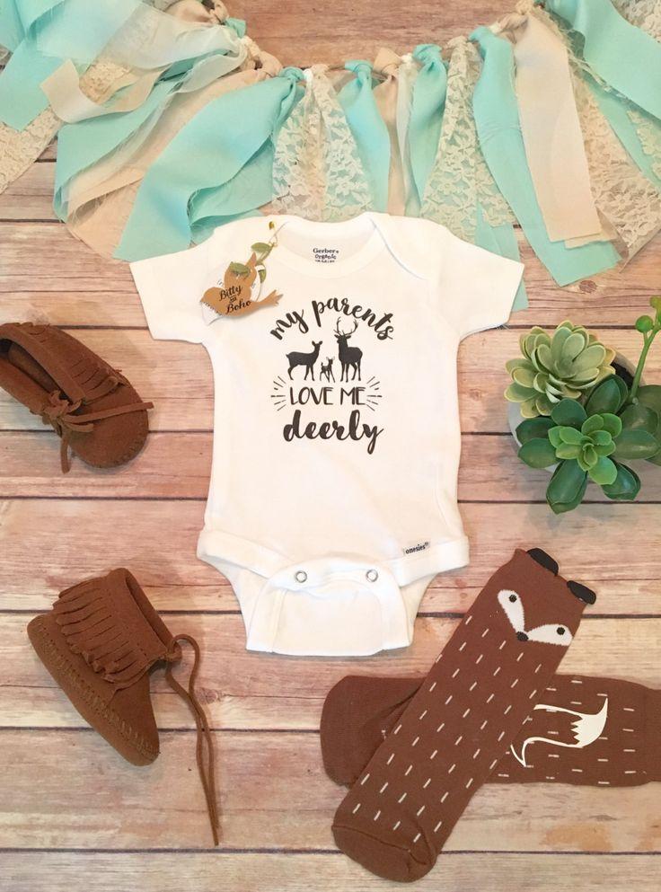 Deer Onesie®, Baby Shower Gift, Baby Boy Clothes, Hunting Baby Clothes, Country Baby Clothes, Cute Onesies, My Parents Love Me Deerly,Rustic