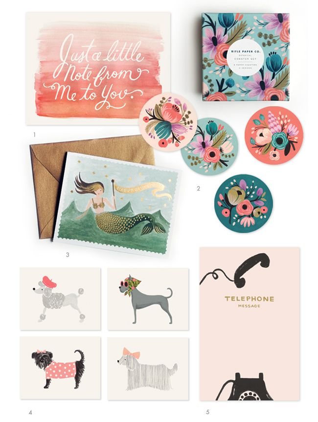 RIFLE PAPER CO   :: 1. Just a Little Note Card  2. Botanical Coaster Set (8 coasters, 4 designs)  3. Vintage Happy Birthday Mermaid Card with gold foil & matching gold envelope  4. Girlie Dog Set  5. Vintage Telephone Message Notepad