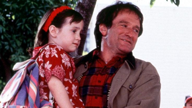 """PHOTO: Mara Wilson, left, and Robin Williams, right, are pictured in a still from """"Mrs. Doubtfire."""""""