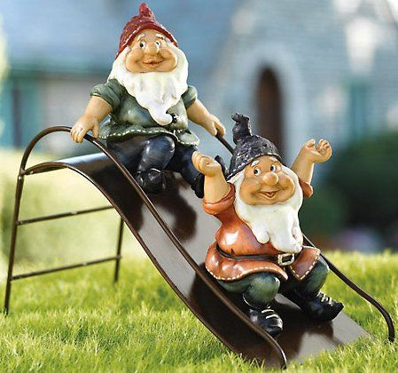 Playful Gnomes On A Slide Garden Or Lawn Decor