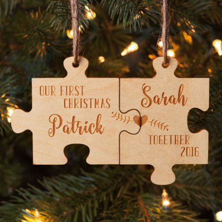 Our First Christmas Together Personalized Wood Ornament Set, Multicolor