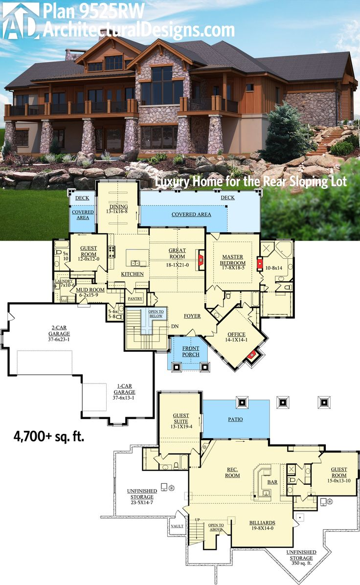 57 best homes for the sloping lot images on pinterest house plan 9525rw lower level living